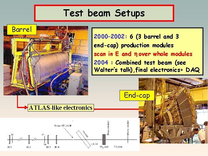 Test beam Setups Barrel 2000– 2002: 6 (3 barrel and 3 end-cap) production modules