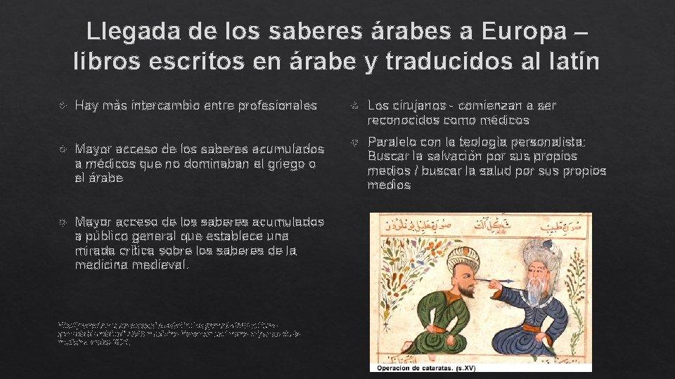 Llegada de los saberes árabes a Europa – libros escritos en árabe y traducidos