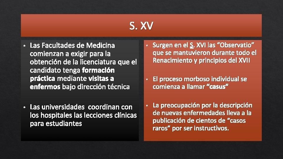 S. XV • • Las Facultades de Medicina comienzan a exigir para la