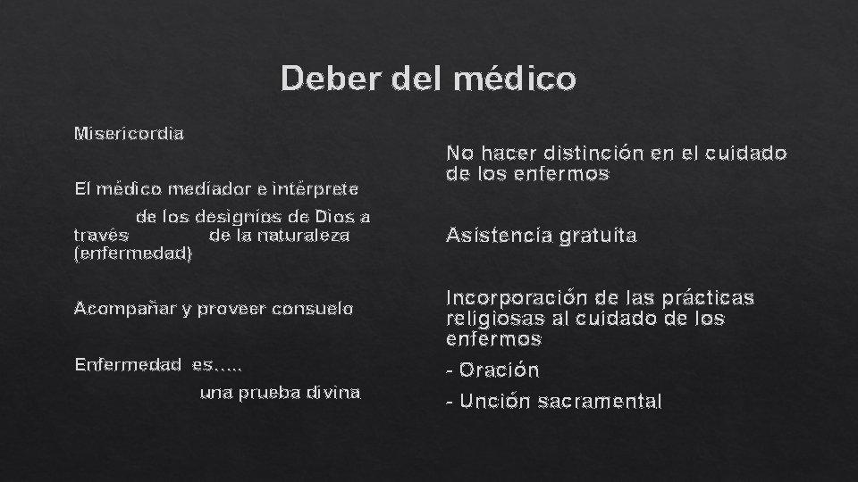 Deber del médico Misericordia El médico mediador e intérprete de los designios de Dios