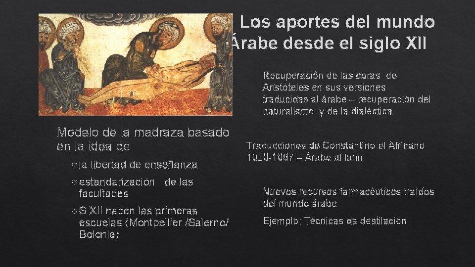 Los aportes del mundo Árabe desde el siglo XII Recuperación de las obras