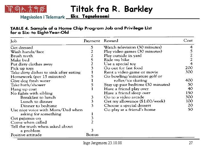 Tiltak fra R. Barkley Eks. Tegnøkonomi • Sett inn bilde side 181 om tegnøkonomi