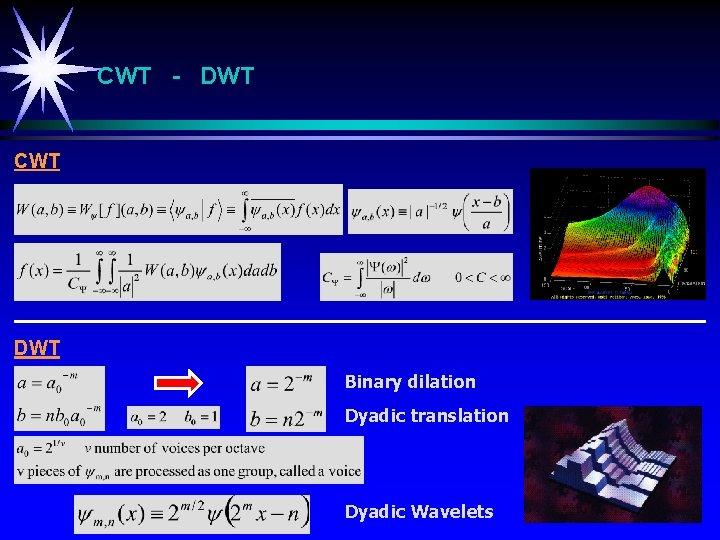 CWT - DWT CWT DWT Binary dilation Dyadic translation Dyadic Wavelets