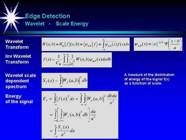 Edge Detection Wavelet - Scale Energy Wavelet Transform Inv Wavelet Transform Wavelet scale dependent