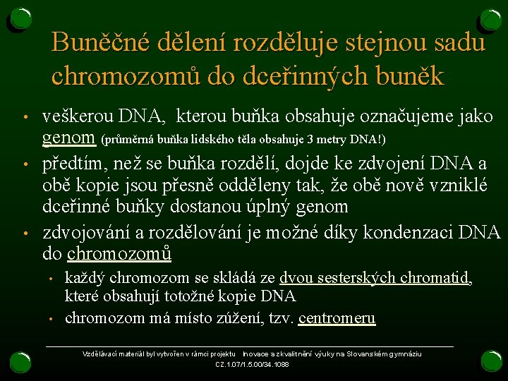 Buněčné dělení rozděluje stejnou sadu chromozomů do dceřinných buněk • • • veškerou DNA,