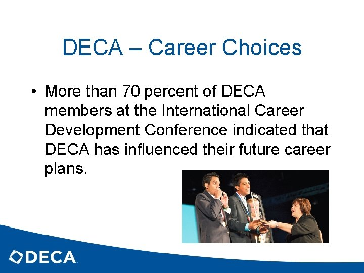 DECA – Career Choices • More than 70 percent of DECA members at the