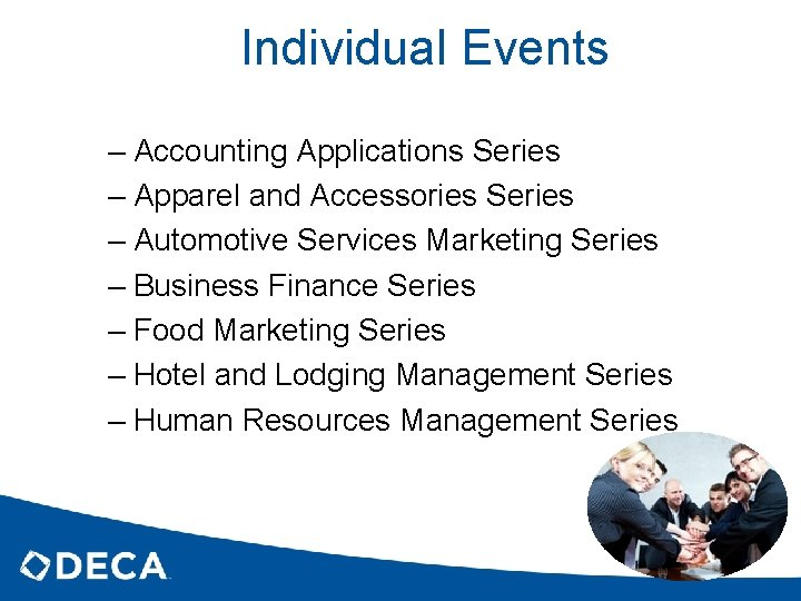 Individual Events – Accounting Applications Series – Apparel and Accessories Series – Automotive Services