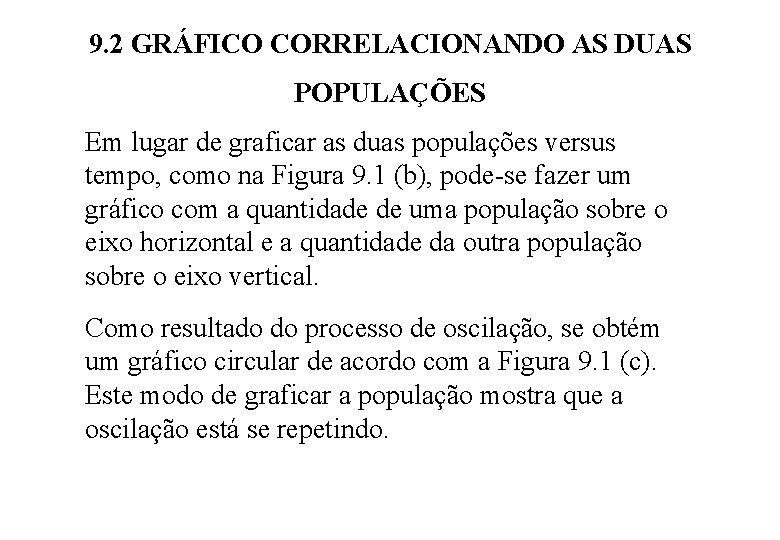 9. 2 GRÁFICO CORRELACIONANDO AS DUAS POPULAÇÕES Em lugar de graficar as duas populações