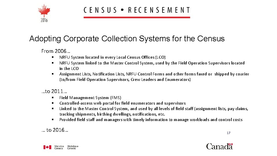 Adopting Corporate Collection Systems for the Census From 2006… § § § NRFU System