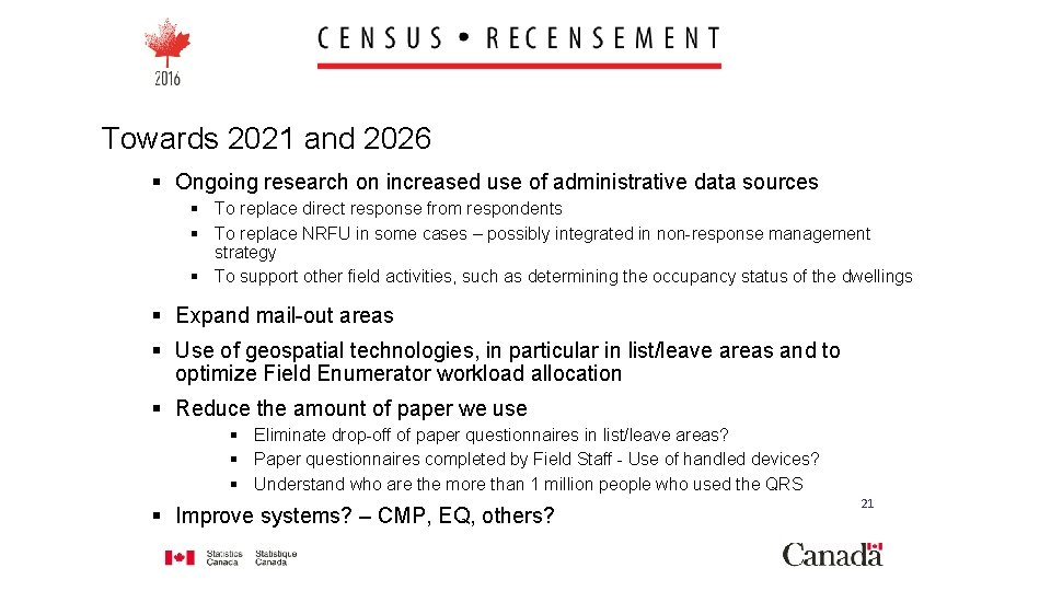 Towards 2021 and 2026 § Ongoing research on increased use of administrative data sources