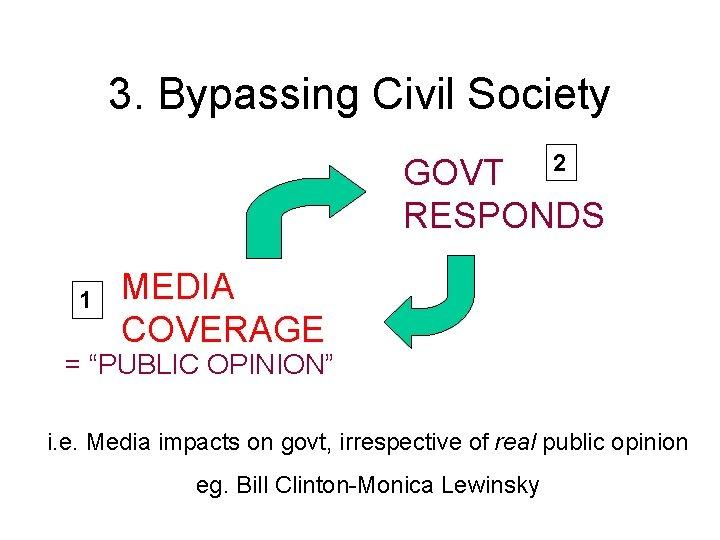 "3. Bypassing Civil Society 2 GOVT RESPONDS 1 MEDIA COVERAGE = ""PUBLIC OPINION"" i."