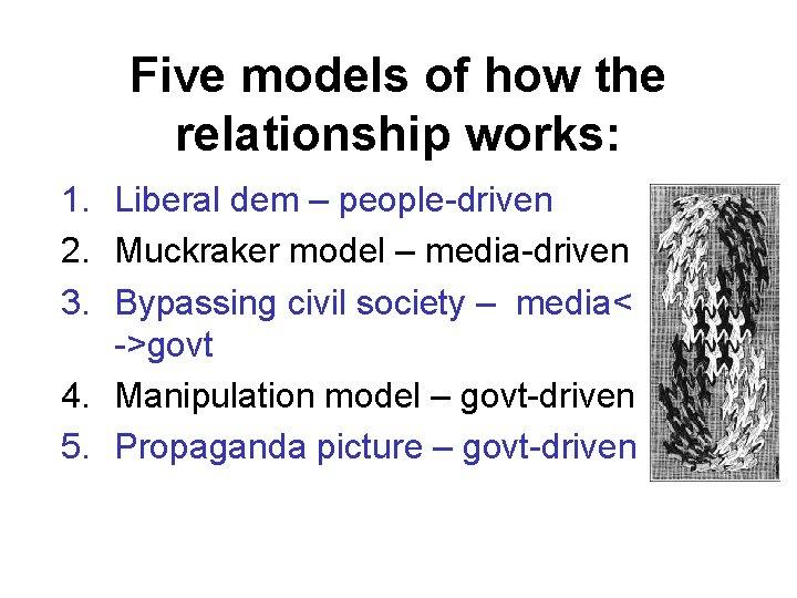 Five models of how the relationship works: 1. Liberal dem – people-driven 2. Muckraker