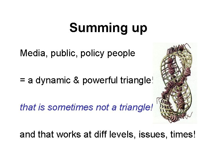 Summing up Media, public, policy people = a dynamic & powerful triangle! that