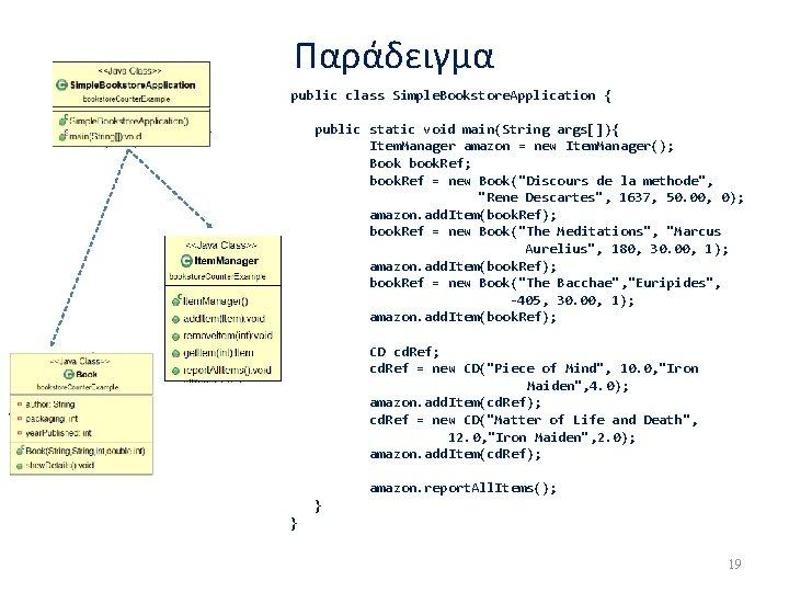 Παράδειγμα public class Simple. Bookstore. Application { public static void main(String args[]){ Item. Manager