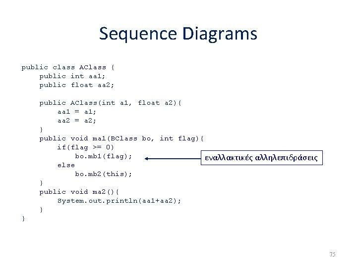 Sequence Diagrams public class AClass { public int aa 1; public float aa 2;