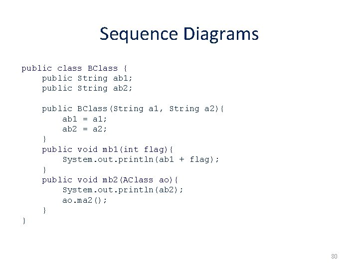 Sequence Diagrams public class BClass { public String ab 1; public String ab 2;