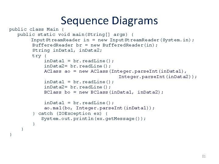 Sequence Diagrams public class Main { public static void main(String[] args) { Input. Stream.