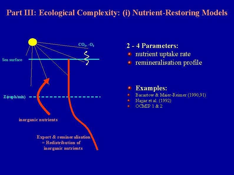 Part III: Ecological Complexity: (i) Nutrient-Restoring Models CO 2, -O 2 Sea surface 2