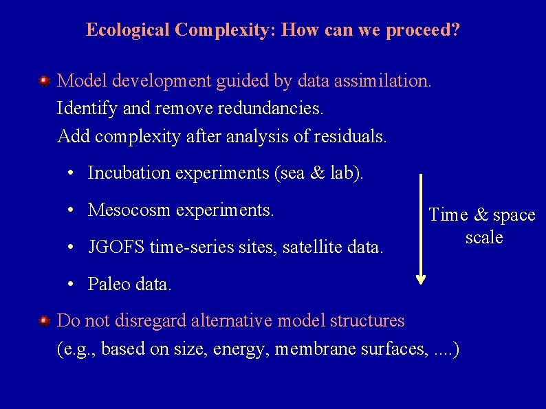 Ecological Complexity: How can we proceed? Model development guided by data assimilation. Identify and