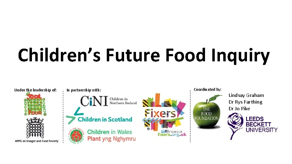 Children's Future Food Inquiry Under the leadership of: In partnership with: Coordinated by: Lindsay