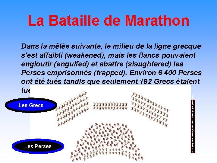 La Bataille de Marathon Dans la mêlée suivante, le milieu de la ligne grecque