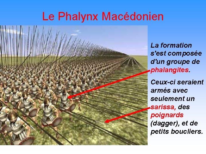 Le Phalynx Macédonien La formation s'est composée d'un groupe de phalangites. Ceux-ci seraient armés