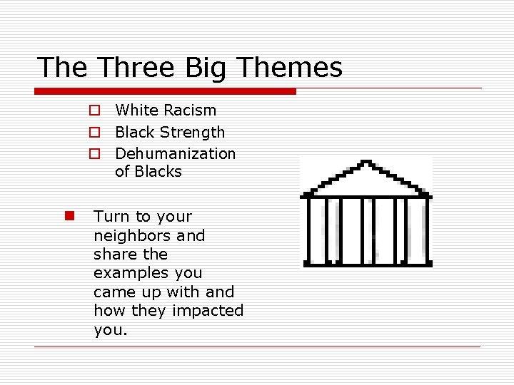The Three Big Themes o White Racism o Black Strength o Dehumanization of Blacks