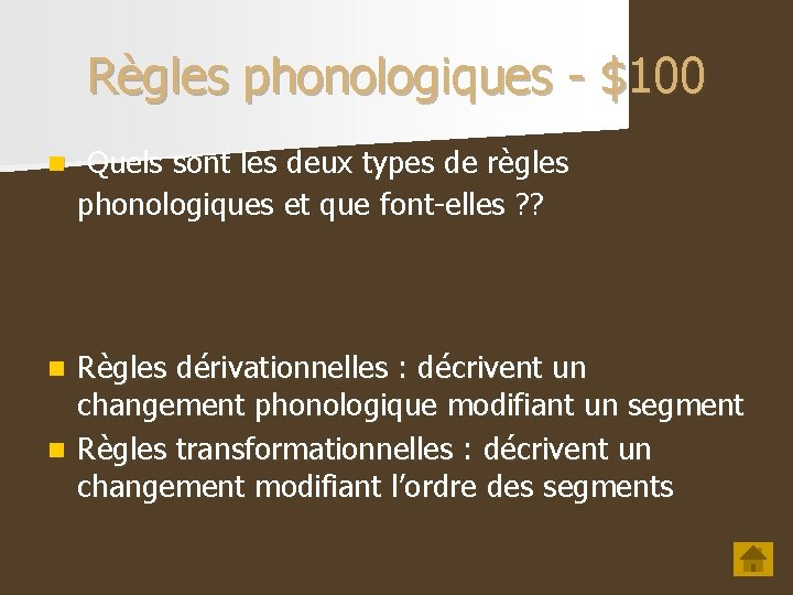 Règles phonologiques - $100 n Quels sont les deux types de règles phonologiques et