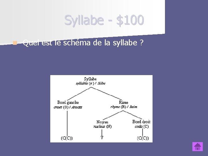 Syllabe - $100 n Quel est le schéma de la syllabe ?