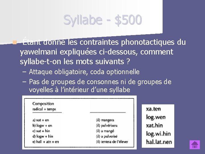 Syllabe - $500 n Étant donné les contraintes phonotactiques du yawelmani expliquées ci-dessous, comment