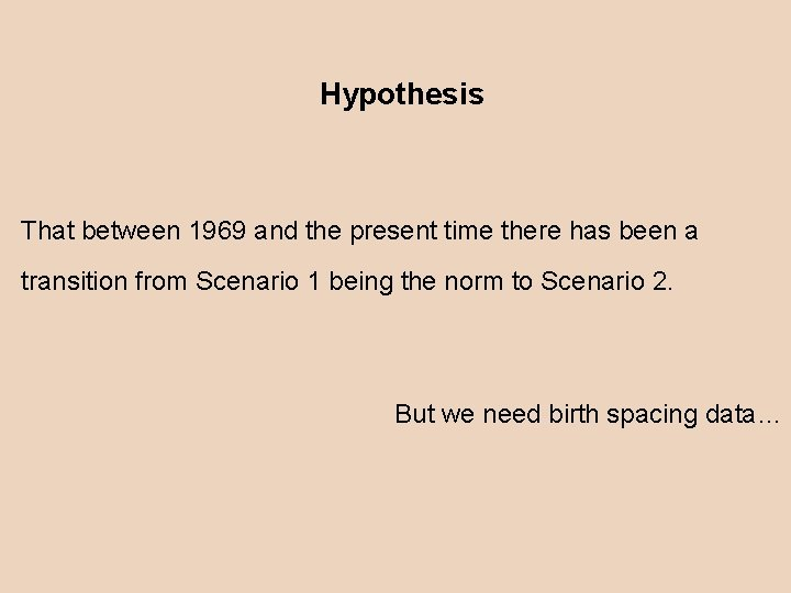 Hypothesis That between 1969 and the present time there has been a transition from