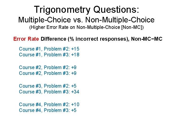 Trigonometry Questions: Multiple-Choice vs. Non-Multiple-Choice (Higher Error Rate on Non-Multiple-Choice [Non-MC]) Error Rate Difference