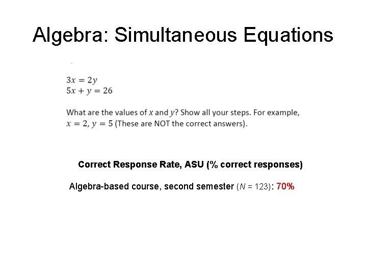 Algebra: Simultaneous Equations Correct Response Rate, ASU (% correct responses) Algebra-based course, second semester