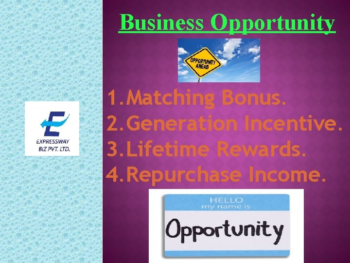 Business Opportunity 1. Matching Bonus. 2. Generation Incentive. 3. Lifetime Rewards. 4. Repurchase Income.