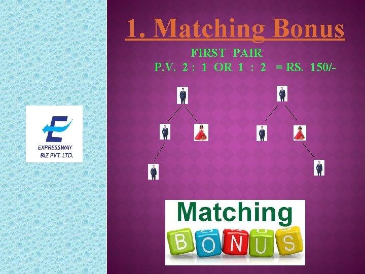 1. Matching Bonus FIRST PAIR P. V. 2 : 1 OR 1 : 2