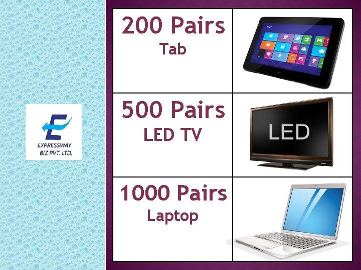 200 Pairs Tab 500 Pairs LED TV 1000 Pairs Laptop