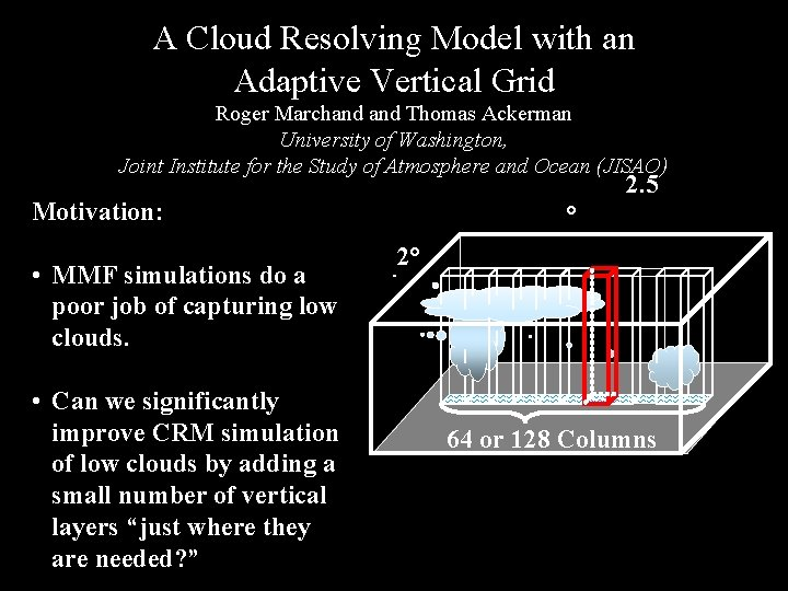 A Cloud Resolving Model with(MMF) an Depiction of Multi-scale Modeling Framework Adaptive Vertical Grid