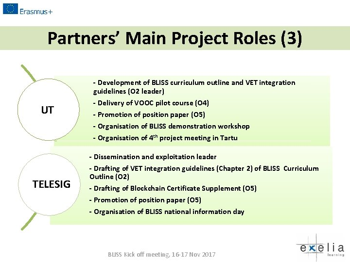Partners' Main Project Roles (3) - Development of BLISS curriculum outline and VET integration