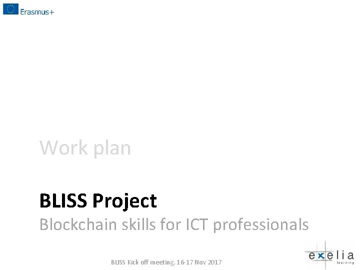 Work plan BLISS Project Blockchain skills for ICT professionals BLISS Kick off meeting, 16