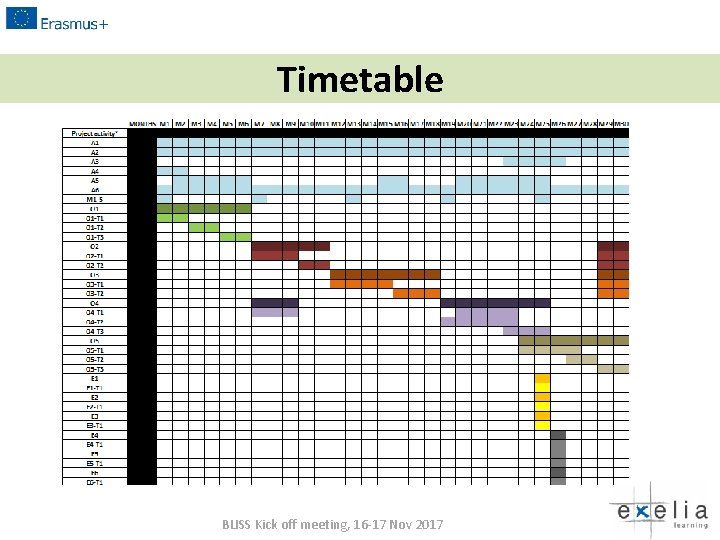 Timetable BLISS Kick off meeting, 16 -17 Nov 2017
