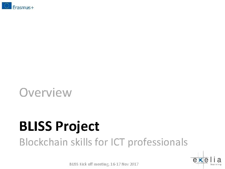 Overview BLISS Project Blockchain skills for ICT professionals BLISS Kick off meeting, 16 -17