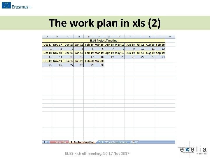 The work plan in xls (2) BLISS Kick off meeting, 16 -17 Nov 2017