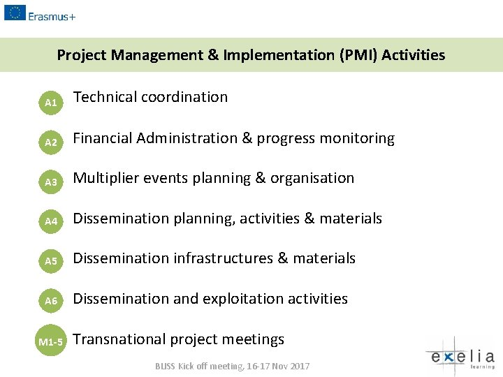 Project Management & Implementation (PMI) Activities A 1 Technical coordination A 2 Financial Administration