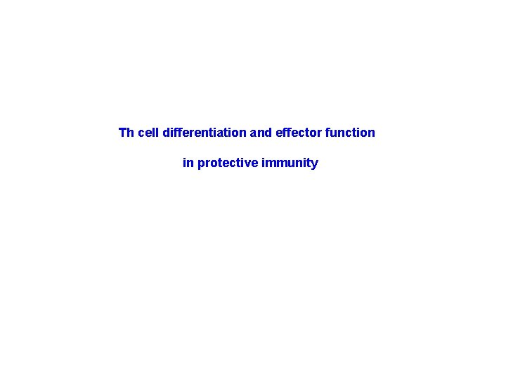 Th cell differentiation and effector function in protective immunity