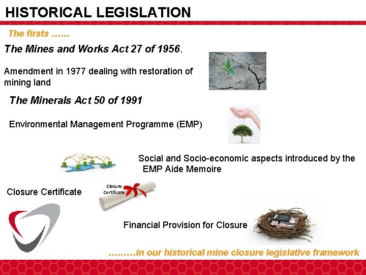 HISTORICAL LEGISLATION The firsts …… The Mines and Works Act 27 of 1956. Amendment