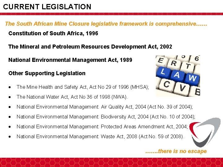 CURRENT LEGISLATION The South African Mine Closure legislative framework is comprehensive…… Constitution of South