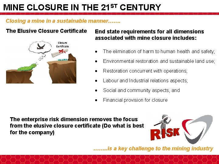 MINE CLOSURE IN THE 21 ST CENTURY Closing a mine in a sustainable manner…….