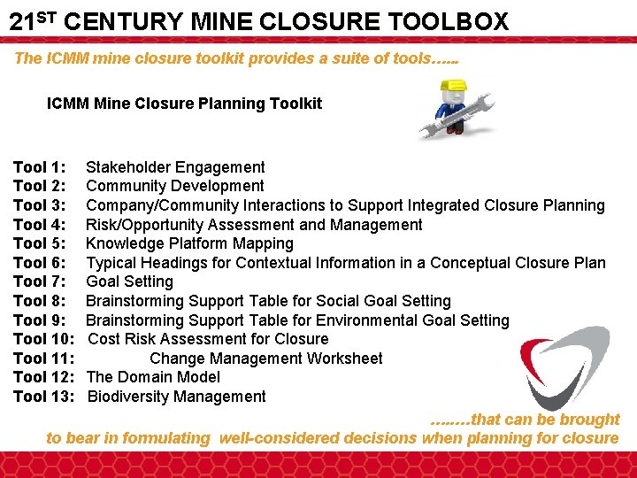 21 ST CENTURY MINE CLOSURE TOOLBOX The ICMM mine closure toolkit provides a suite