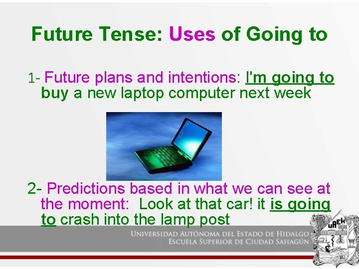 Future Tense: Uses of Going to 1 - Future plans and intentions: I'm going