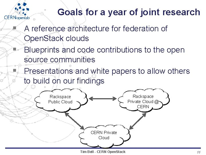 Goals for a year of joint research § A reference architecture for federation of
